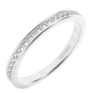 Earth Star Diamonds FR01316 Channel Set Princess Diamonds Half Eternity Ring Wedding Ring in White Gold