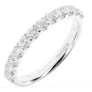 Earth Star Diamonds FR01317 Claw Set Round Brilliant Cut Diamonds Half Eternity Wedding Ring in White Gold