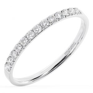 Earth Star Diamonds FR01318452 Claw Set Round Diamonds Half Eternity Ring in White Gold