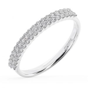 Earth Star Diamonds FR0133025 40-Per Pave Set Double Row Round Brilliant Cut Diamonds Half Eternity Wedding Ring in White Gold