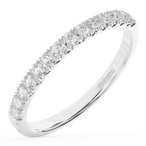 Earth Star Diamonds FR0133725 40-Per Claw Set Round Brilliant Cut Diamonds Half Eternity Wedding Ring in White Gold