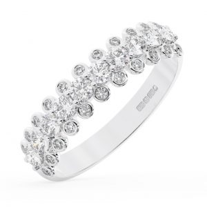 Earth Star Diamonds FR013425 40-Per Claw & Bezel Set Round Brilliant Cut Diamonds Half Eternity Wedding Ring in White Gold
