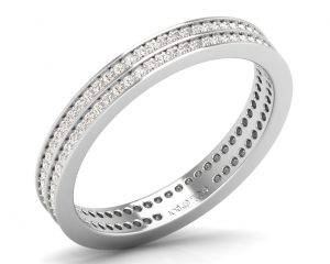 Earth Star Diamonds FR06423 Pave Set Round Brilliant Cut Diamonds Full Eternity Wedding Ring in White Gold
