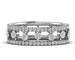 Earth Star Diamonds FR0675 Round Brilliant Cut Diamond Dew Drop Full Eternity Ring in White Gold