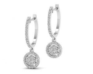 Earth Star Diamonds FR0838 Round Brilliant Cut Diamonds Hoop Earrings in White Gold