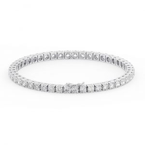 Earth Star Diamonds FTB014835 Claw Set Round Brilliant Cut Diamonds Tennis Bracelet in White Gold