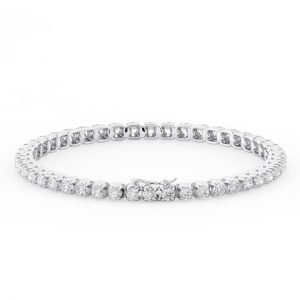 Earth Star Diamonds FTB015935 Claw Set Round Diamonds Tennis Bracelet in White Gold