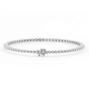 Earth Star diamonds FTB016921 Claw Set Round Diamonds Tennis Bracelet in White Gold