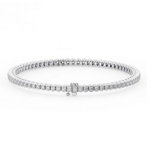 Earth Star Diamonds FTB017027 Bezel Set Round Diamonds Tennis Bracelet in White Gold