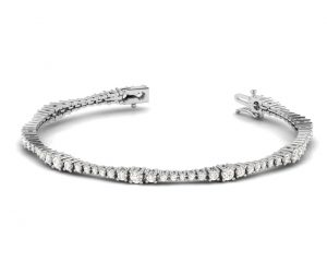 Earth Star Diamonds TB0111 Claw Set Round Brilliant Cut Diamonds Tennis Bracelet in White Gold