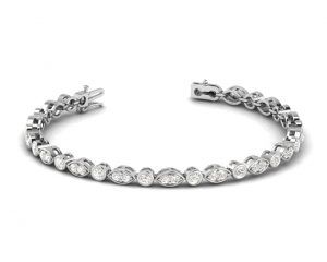 Earth Star Diamonds TB0112 Round Brilliant Cut Diamonds Tennis Bracelet in White Gold