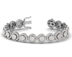 Earth Star Diamonds TB0114 Claw Set Round Brilliant Cut Tennis Bracelet in White Gold