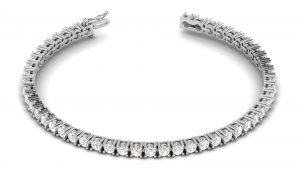 Earth Star Diamonds TB0115 Claw Set Round Brilliant Cut Tennis Bracelet in White Gold