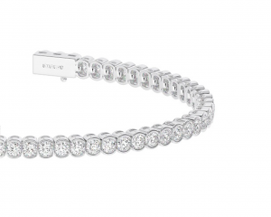 Earth Star Diamonds TB0116 Bezel Set Round Brilliants Cut Diamonds Tennis Bracelet in White Gold