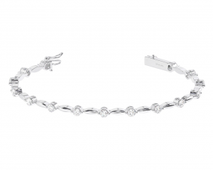 Earth Star Diamonds TB0117 Bezel Round Brilliant Cut Diamonds Tennis Bracelet in White Gold