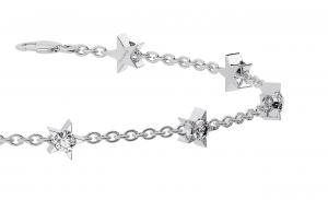 Earth Star Diamonds TB0118 Round Brilliant Cut Diamonds Star Shape Bracelet in White Gold