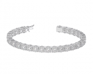 Earth Star Diamonds TB0119 Claw Set Round Brilliant Cut Diamonds Tennis Bracelet in White Gold