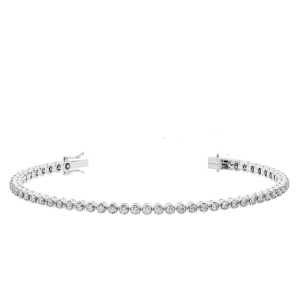 Earth Star Diamonds TB0120 Claw Set Round Brilliant Cut Diamonds Tennis Bracelet in White Gold