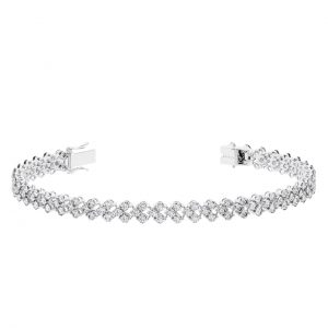 Earth Star Diamonds TB0121 Pave Set Round Brilliant Cut Diamonds Tennis Bracelet in White Gold