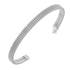 Earth Star Diamonds TB0122 Claw Set Round Brilliant Cut Diamonds Tennis Bracelet in White Gold