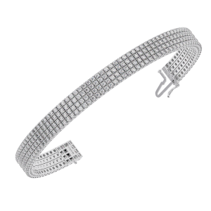 Earth Star Diamonds TB0123 Pave Set Round Brilliant Cut Diamonds Tennis Bracelet in White Gold