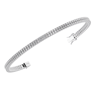 Earth Star Diamonds TB0124 Claw Set Round Brilliant Cut Diamonds Tennis Bracelet in White Gold