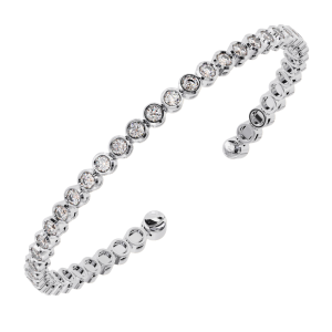 Earth Star Diamonds TB0125 Bezel Set Round Brilliant Cut Diamonds Tennis Bracelet in White Gold