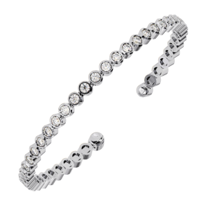 Earth Star Diamonds TB0126 Bezel Set Round Brilliant Cut Diamonds Tennis Bracelet in White Gold