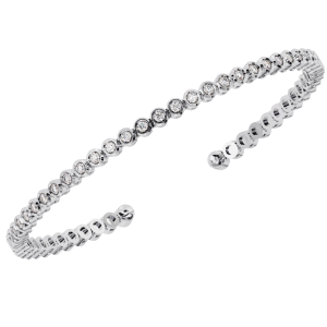 Earth Star Diamonds TB0127 Bezel Set Round Brilliant Cut Diamonds Tennis Bracelet in White Gold
