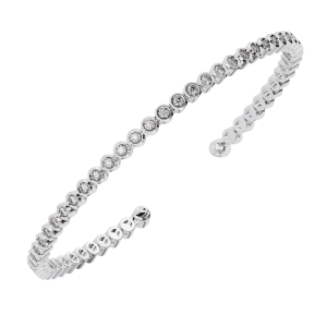 Earth Star Diamonds TB0128 Bezel Set Round Brilliant Cut Diamonds Tennis Bracelet in White Gold