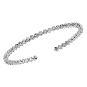Earth Star Diamonds TB0129 Bezel Set Round Brilliant Cut Diamonds Tennis Bracelet in White Gold