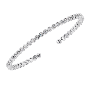 Earth Star Diamonds TB0130 Bezel Set Round Brilliant Cut Diamonds Tennis Bracelet in White Gold