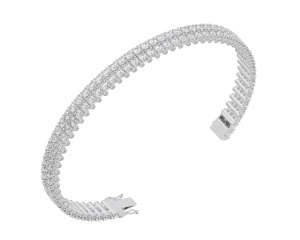 Earth Star Diamonds TB0132 Round Brilliant Cut Diamonds Tennis Bracelet in White Gold