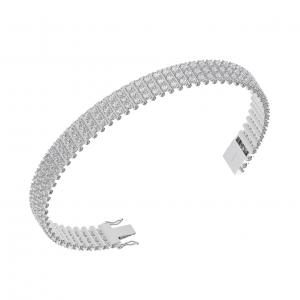 Earth Star Diamonds TB0133 Round Brilliant Cut Diamonds Tennis Bracelet in White Gold