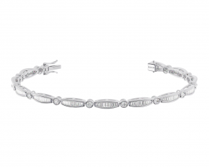 Earth Star Diamonds TB0141 Bezel Set Tennis Bracelet in White Gold