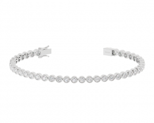 Earth Star Diamonds TB0143 Bezel Set Tennis Bracelet in White Gold