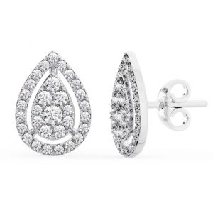 Earth Star Diamonds FE0968 Halo Diamonds Pear Shaped Stud Earring in White Gold