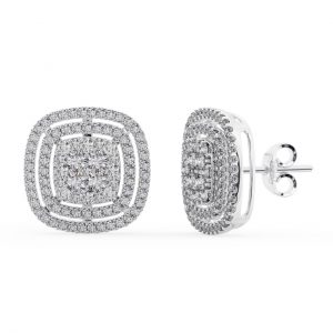 Earth Star Diamonds FE0969 Double Halo Diamonds Stud Earring in White Gold