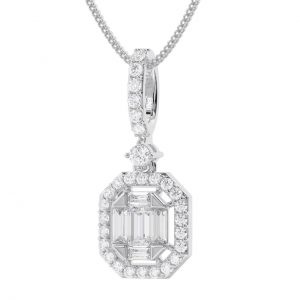Earth Star Diamonds FP0434 Claw Set Baguette & Round Diamonds Pendent in White Gold