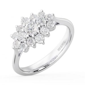 Earth Star Diamonds FR01303 Claw Set Round Brilliant Diamonds Cluster Engagement Ring in White Gold