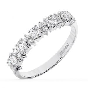 Earth Star Diamonds FR0131240 Claw Set Round Diamonds Half Eternity Ring in White Gold