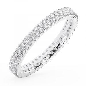 Earth Star Diamonds FR0133025 100-Per Pave Set Double Row Round Brilliant Cut Diamonds Full Eternity Wedding Ring in White Gold