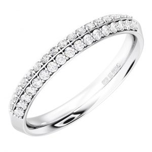 Earth Star Diamonds FR061740 Pave Set Round Brilliant Cut Diamonds Half Eternity Wedding Ring in White Gold
