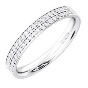 Earth Star Diamonds FR064140 Pave Set Round Brilliant Cut Diamonds Half Eternity Wedding Ring in White Gold