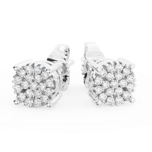 Earth Star Diamonds FE0961 Pave Set Round Diamonds Halo Stud Earring in White Gold