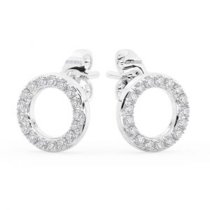 Earth Star Diamonds FE0962 Pave Set round Diamonds Stud Circle Earring in White Gold
