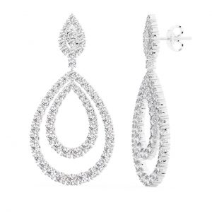 Earth Star Diamonds FE0963 Claw Set Round Diamonds Drop Earring in White Gold