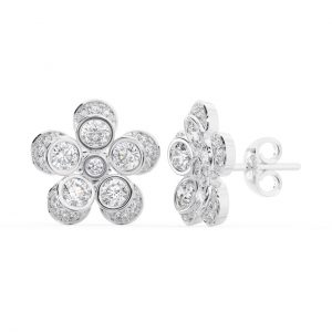Earth Star Diamonds FE0978 Bezel Set Round Diamonds Stud Earring in White Gold