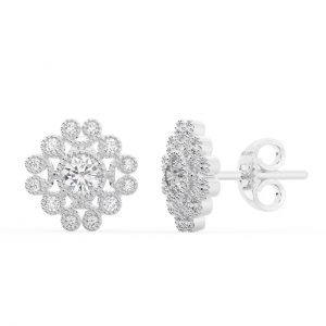 Earth Star Diamonds FE0979 Bezel Set Round Diamonds Cluster Earring in White Gold