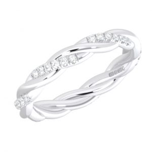 Earth Star Diamonds FR01123 Pave Set Round Brilliant Cut Full Eternity Wedding Ring in White Gold